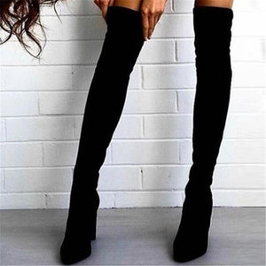Autumn and winter pointed thick with side zipper over the knee boots
