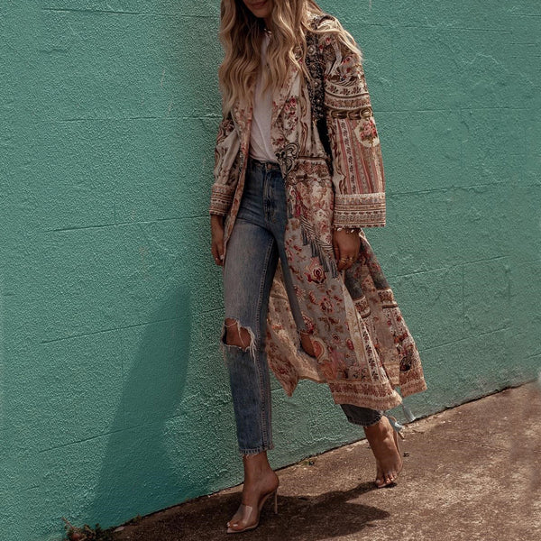 Casual abstract style print long sleeve long cardigan
