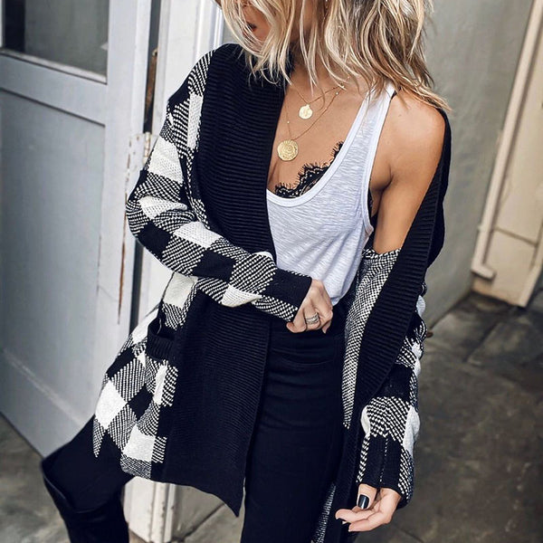 Fashion plaid long sleeve loose cardigan