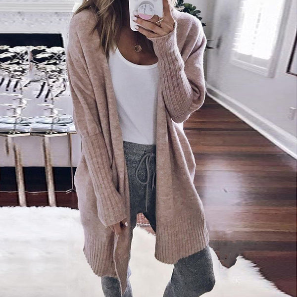 Women's fashion casual solid color knit cardigan