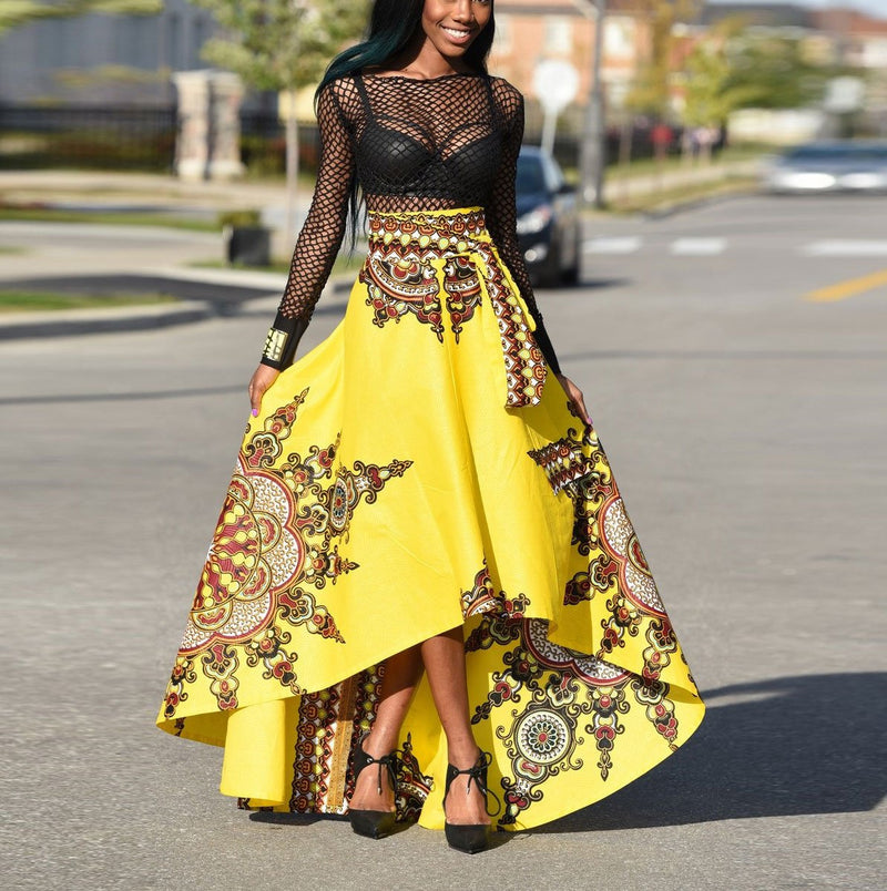 Fashion Floral Printed Maxi Skirt