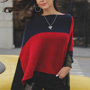 Casual Color matching   loose Knitted shawl Cloak
