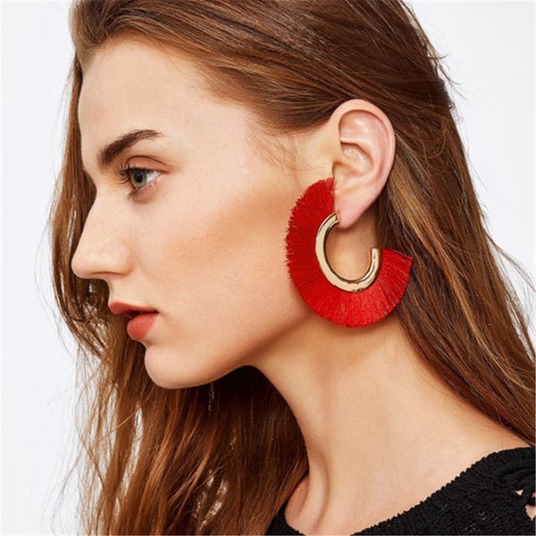 Bohemian Personality Fan-Shaped Multi-Color Tassel Earrings
