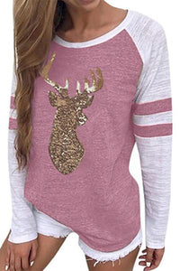 Fashion Round Neck Long Sleeve Deer Print Christmas T-Shirts