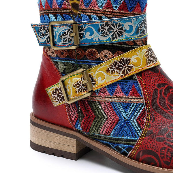 New Printing Retro Splicing Stripe Pattern Flat Leather Boots