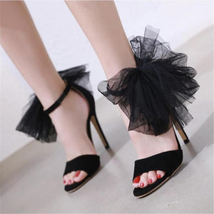 Lace bow black openwork high heel sandals