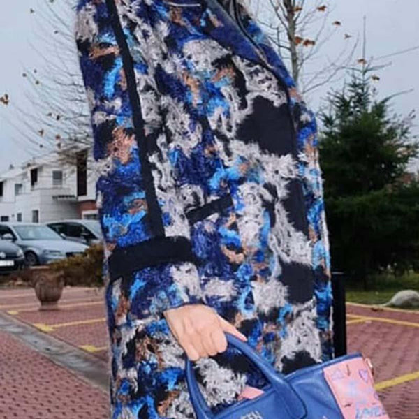Fashion Printed Long Sleeves Pockets Midi Coat
