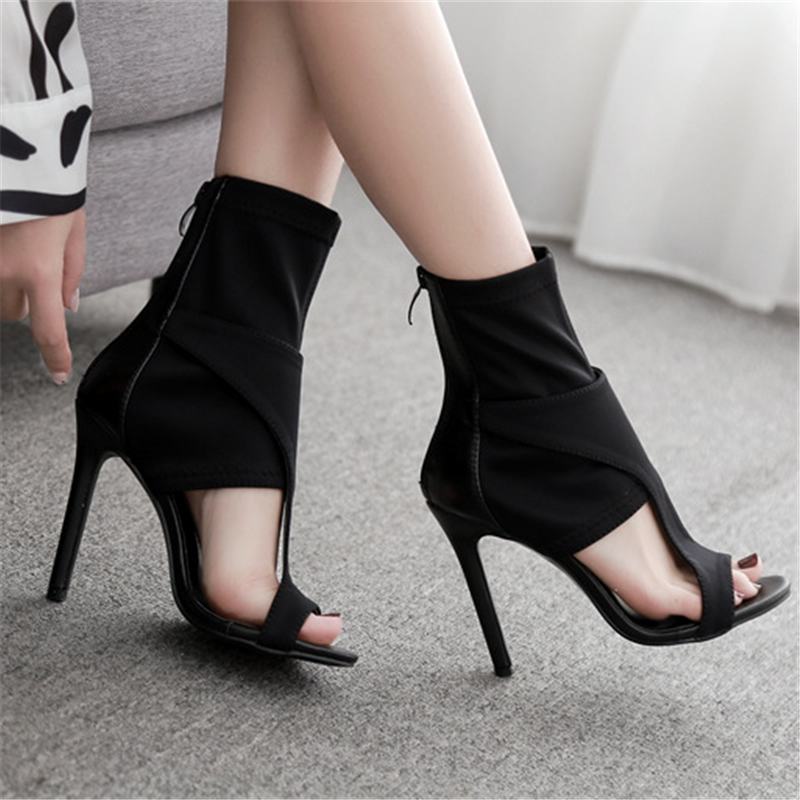 Open-toe openwork elastic high heel sandals