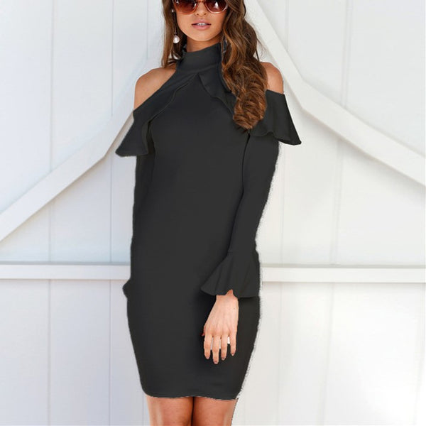 Fashion Sexy Back Zipper Flap Edge Off The Shoulder Mini Bodycon Dress