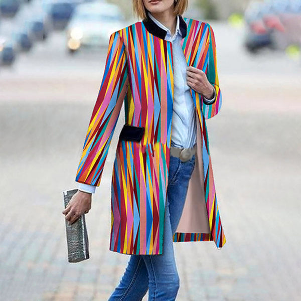 Women's Fashion Striped Digital Print Personality Rainbow Loose Coat