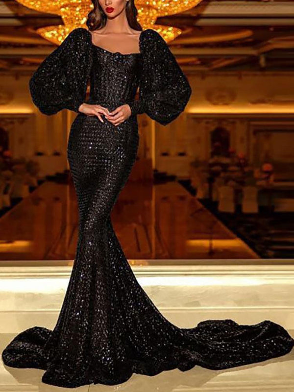 Sequined Long Sleeve Sexy Slim Tail Dress