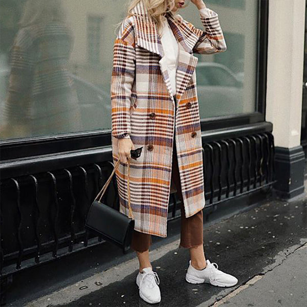 Fashion Lapel Plaid Print Long Coat