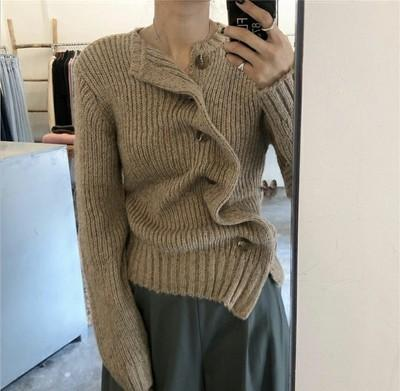 Fashion Irregular Pure Colour Knitted Sweater