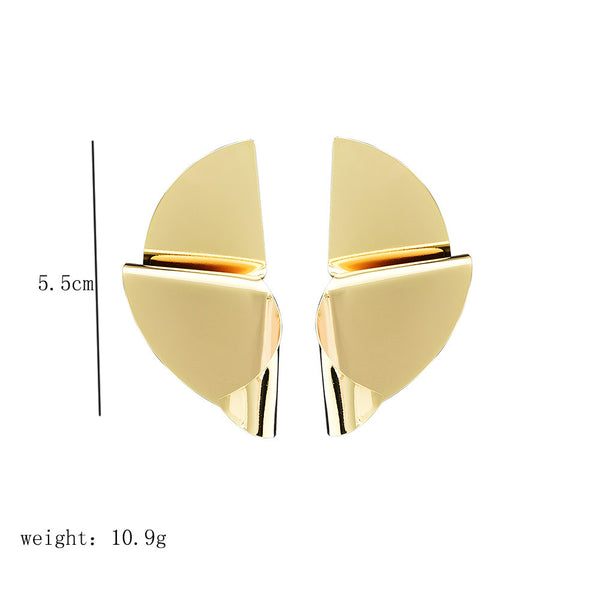 Fashion personality irregular metal smooth women's earrings street beat street card