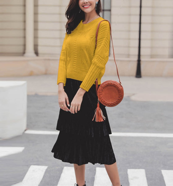 Casual Pure Color   Neckline Bandage bow knitted sweater