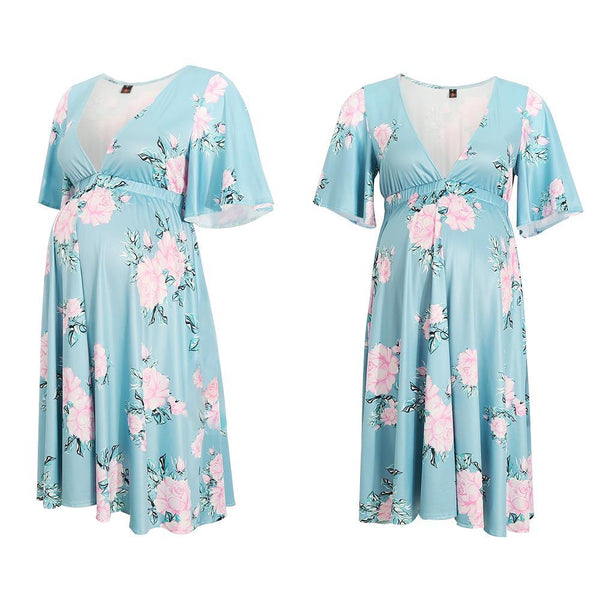 Maternity Floral Print V Collar Short  Dress