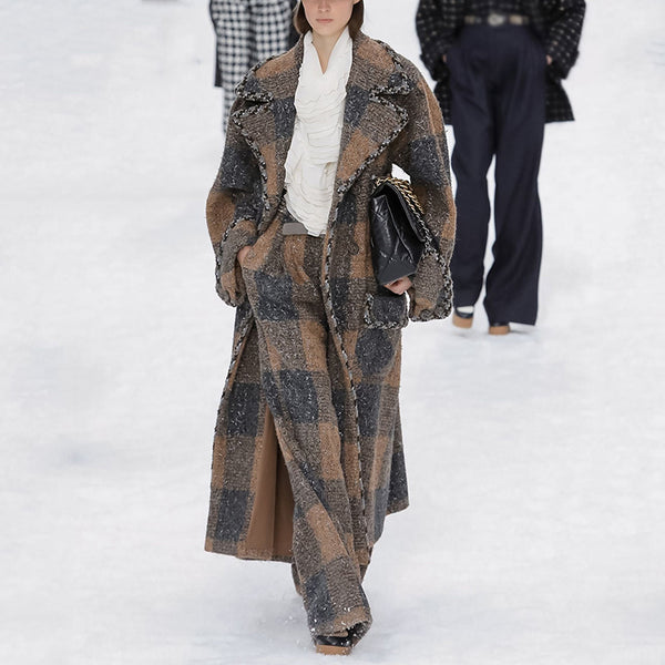 Women's Fashion Flip Collar Plaid Coat