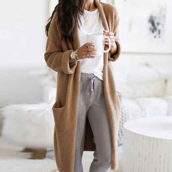Casual brown pocket loose knit cardigan