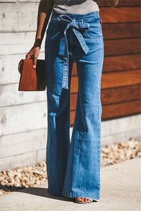 High Elastic Slim Belt   With Wide Leg Flared Jeans