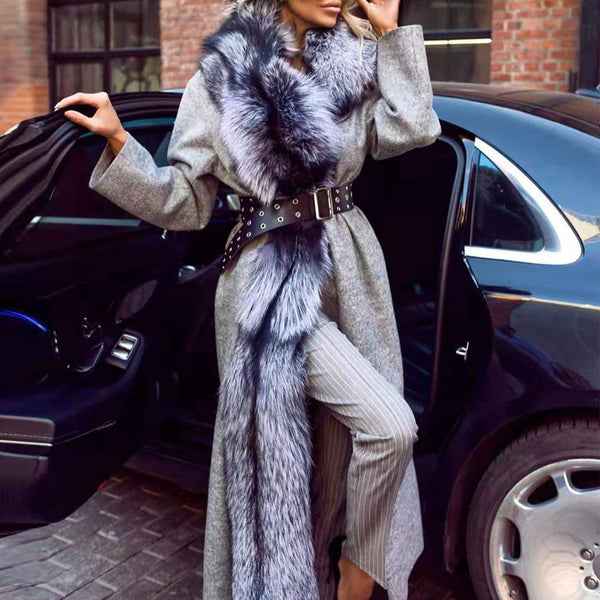 Fashion Solid Color Fur Collar Long Coat
