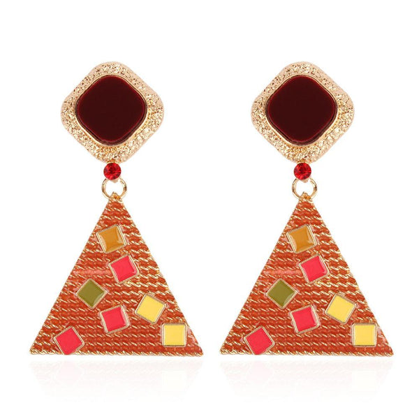 Triangle alloy diamond earrings