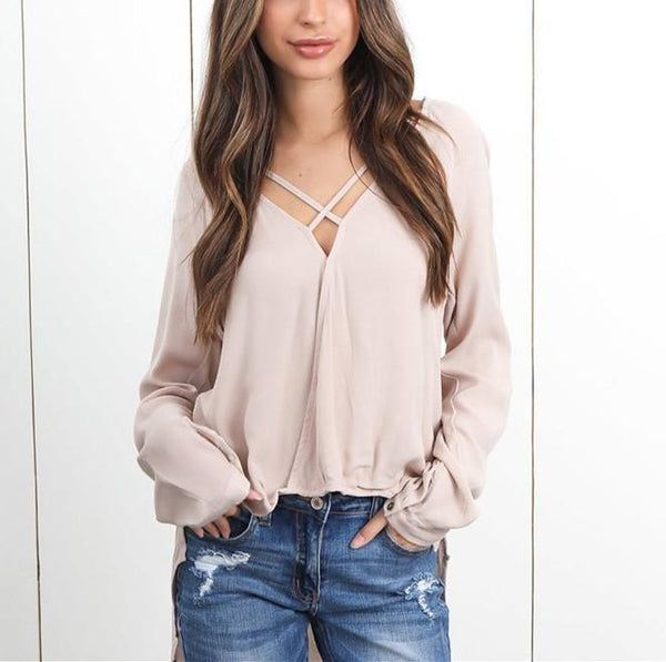 Fashion Sexy V-Neck Long Sleeved Chiffon Medium Long T-Shirt