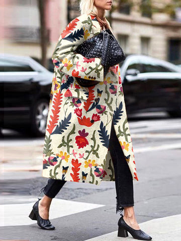 Women's Individuality Loose Printed Colour Coat