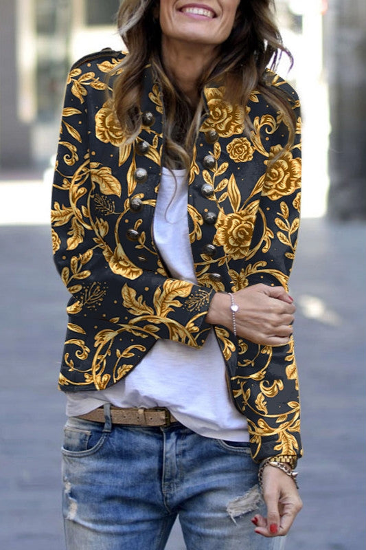 Casual Printed Long Sleeve Decorative Buttons Jacket