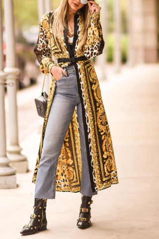 Fashion Floral Printed Long Coat