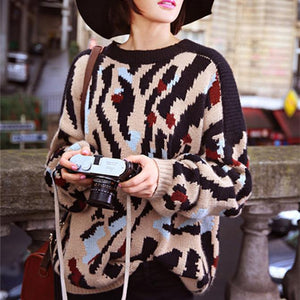 Fashion Leopard Print Round Neck Short Sleeve Sweater