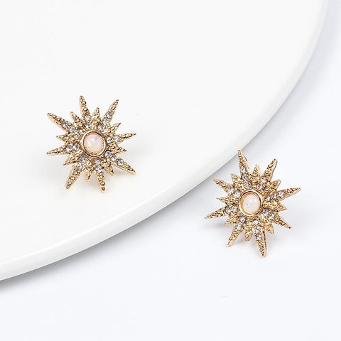 Sunflower Pearl Diamond Drill Earrings