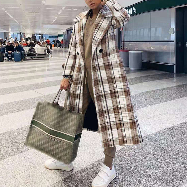 Fashion brown and white plaid loose wool coat