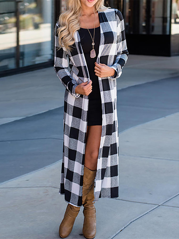 Fashion Plaid Printed Colour Long Sleeve Midi Coat