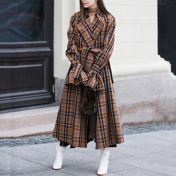 Fashion Plaid Lapel Long Sleeve Overcoat