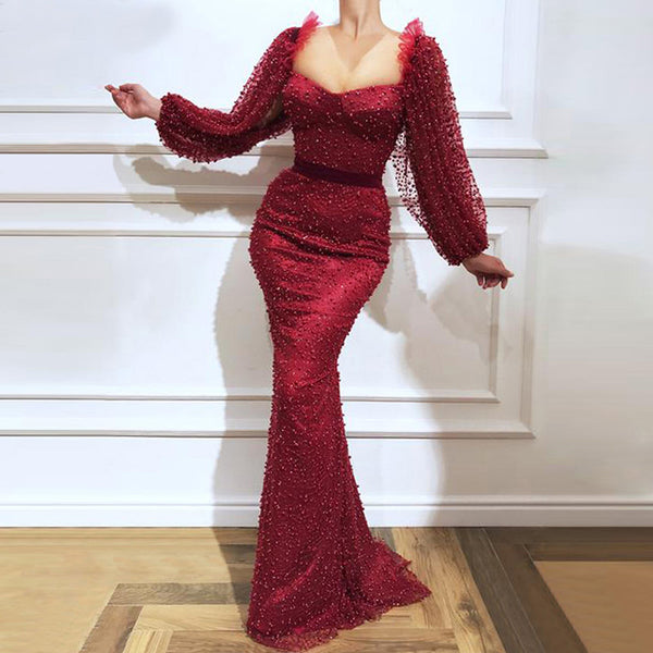 Fashion Sexy Long Sleeve Red Evening Dress