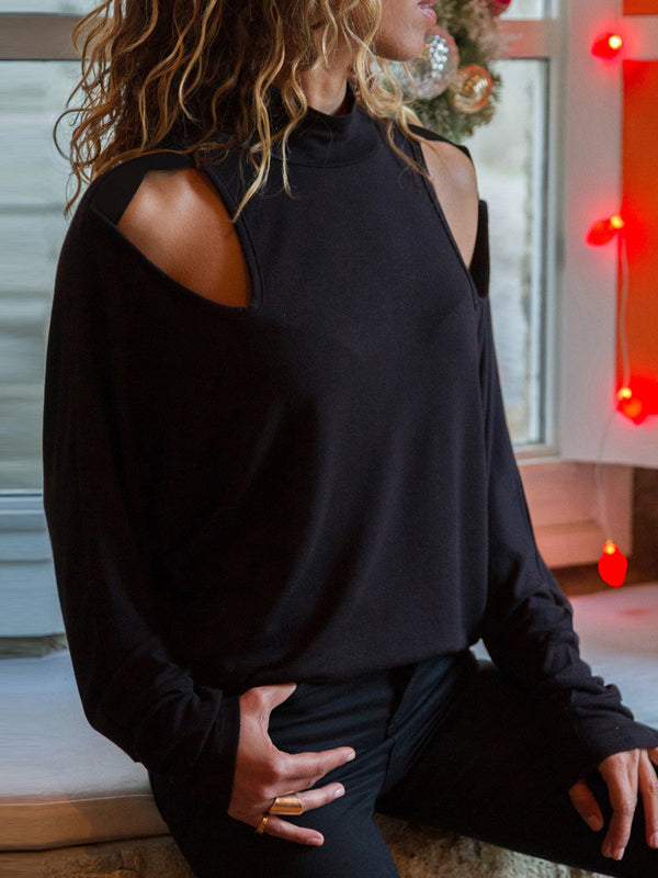 Chic Off-The-Shoulder Long Sleeve Loose T-Shirt