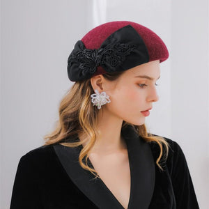 New Mixed Color Lace Bow Beret