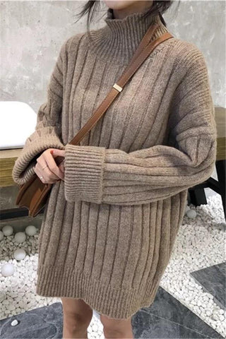 Casual Half Collar Loose Medium Length Knitted Shirt Blouse