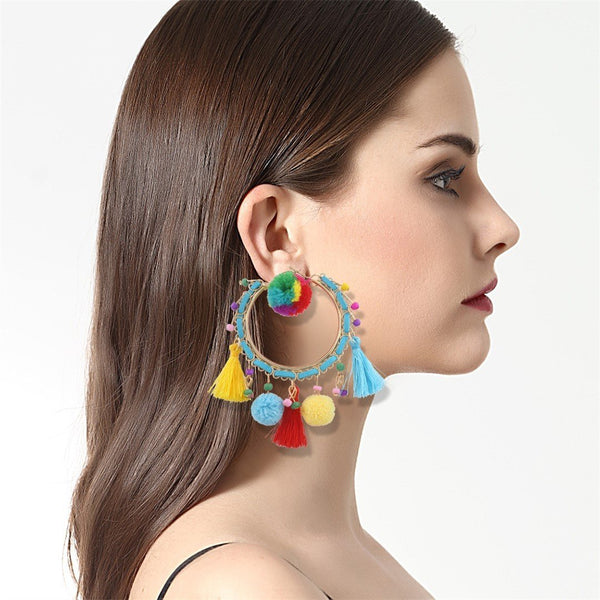 Fashion personality hair ball earrings geometric earrings
