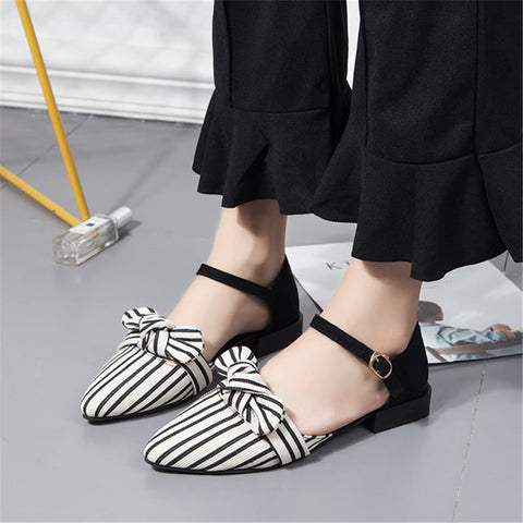 Striped word buckle bow pointed sandals