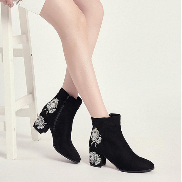 Martin boots national style embroidery women's shoes retro embroidered shoes
