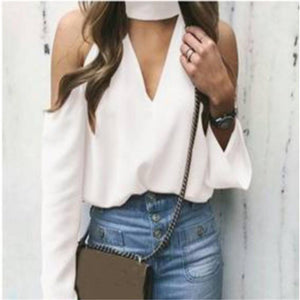 Fashion Deep v neck   off the shoulder sexy long sleeve shirts blouse