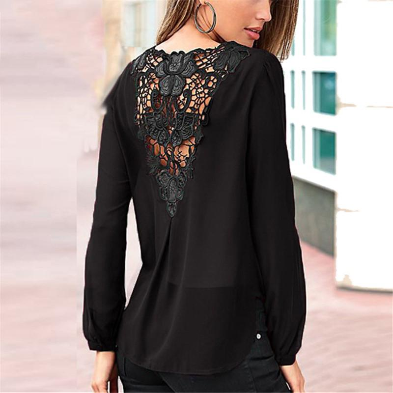 Casual Fashion  Bubble Sleeved Chiffon Shirt With Bare Back   T-Shirt