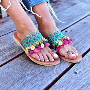 Fashion Vintage Bohemian Color Flat Slippers