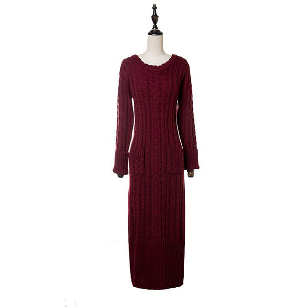 Solid color high collar slim thick long knit dress