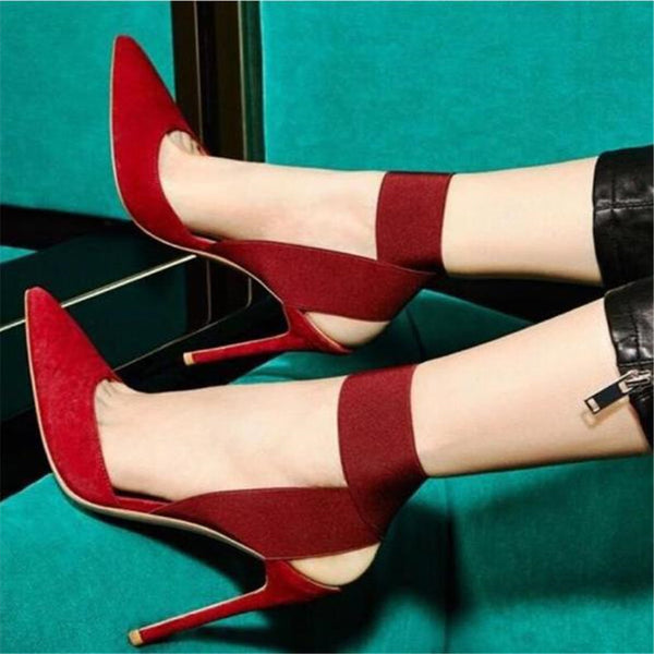 Pointed shallow elastic band high heels