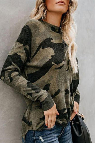 Fashion Camouflage Round Neck Long Sleeve T-Shirt