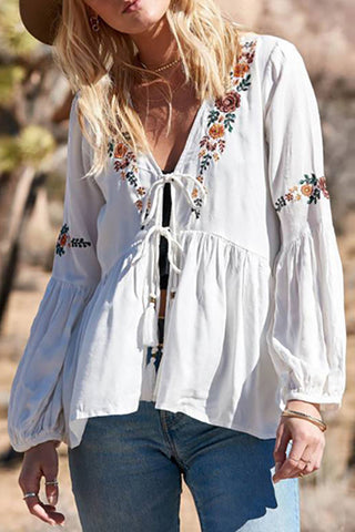 Bohemian Bishop Sleeve V Neck Belted Inwrought Shirt