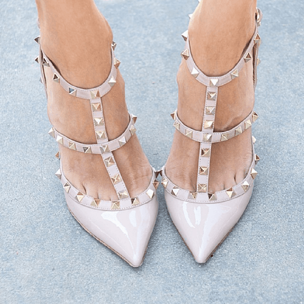 Rivet Pointed High Heels Sandals