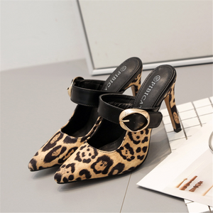 Leopard-print pointed stiletto heels